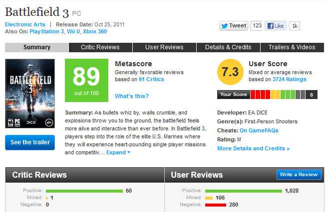 Battlefield 3 metacritic score