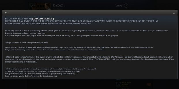 steam scamer profile description